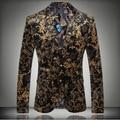 Plus size homens Flor quente impressão ternos blazer masculino top dos homens de forma magro personalidade fashion flannelette plana outerwear jaqueta