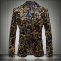 Plus size hot men Flower printing suits blazer top male slim fashion men's fashion personality flat flannelette jacket outerwear