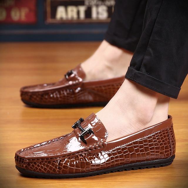 spring men loafer boat shoes casual comfort PU leather breathable slip on soft men drivin moccasin k485