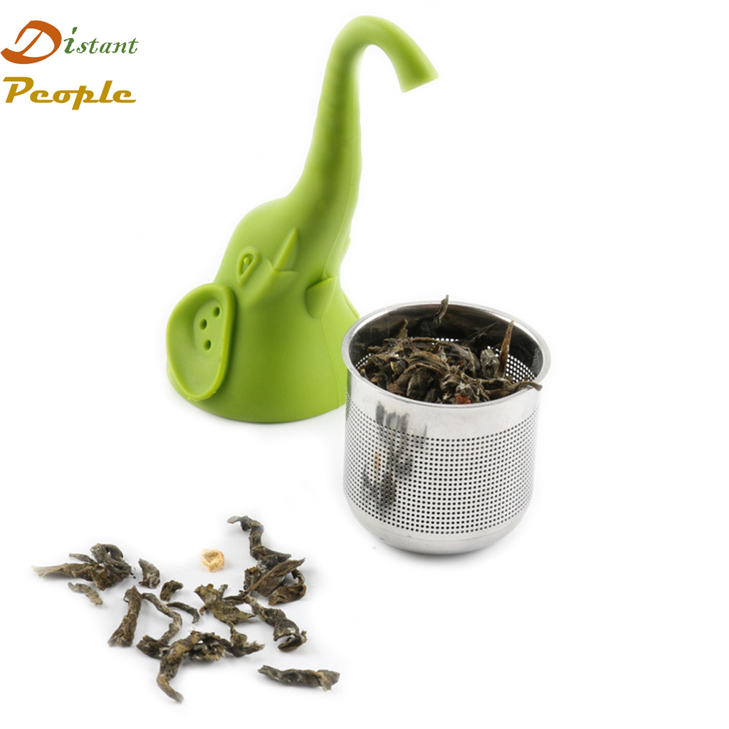 Elephant Tea Strainer Food Grade Silicone Teaspoon Filter Stainless Steel Loose leaf Tea Infuser Filter Diffuser Accessories in Tea Infusers from Home Garden