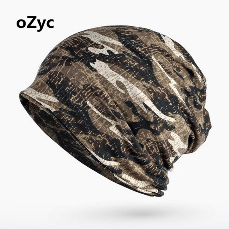 OZYC 2 Use Cap Knitted Scarf & Winter Hats For Women Men Camouflage Printing MenS Warm Beanies Fashion Hip-Hop Winter Cap Hat