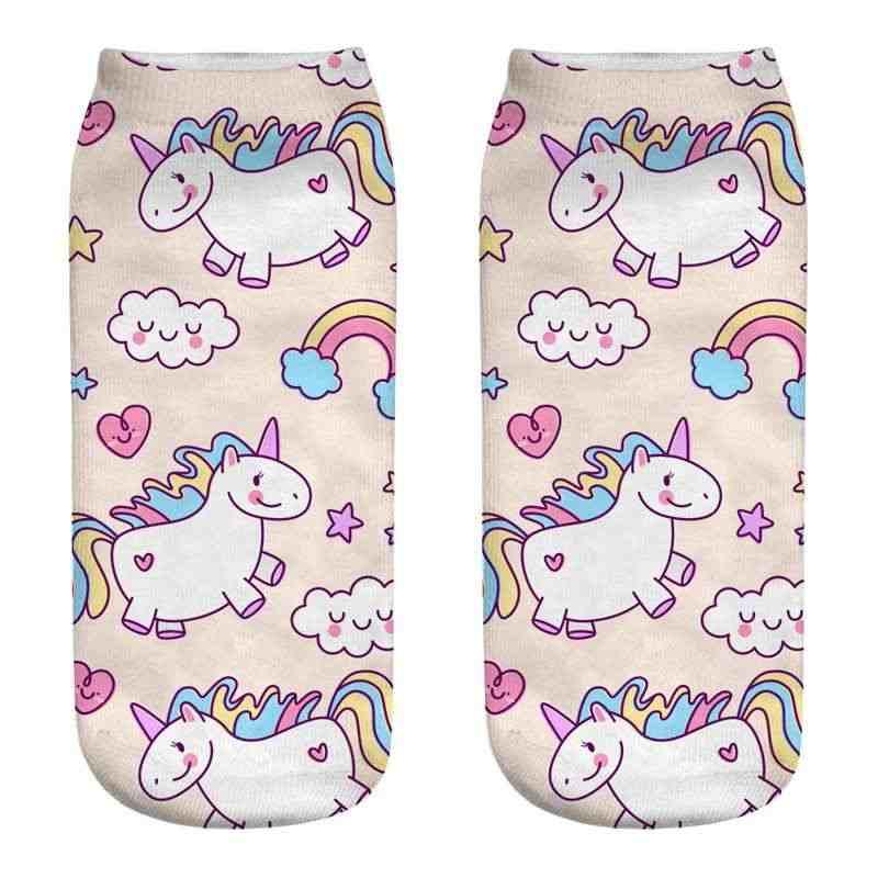 Coloridos calcetines de algodón suave unicornio Licorne para mujeres Primavera Verano divertidos calcetines dulces estampados 3D calcetines para embarazadas Maternidad