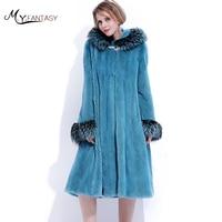 M Y FANSTY Natural Real Fur Coat 2018 Winter Pure Color With Fur Hood Mink Fur