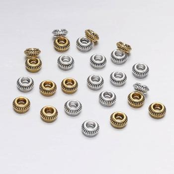 50pcs/lot 7mm Antique Gold Circular Flat Loose Spacer Beads For Jewelry Making DIY Handmade Bracelet Findings Accessories
