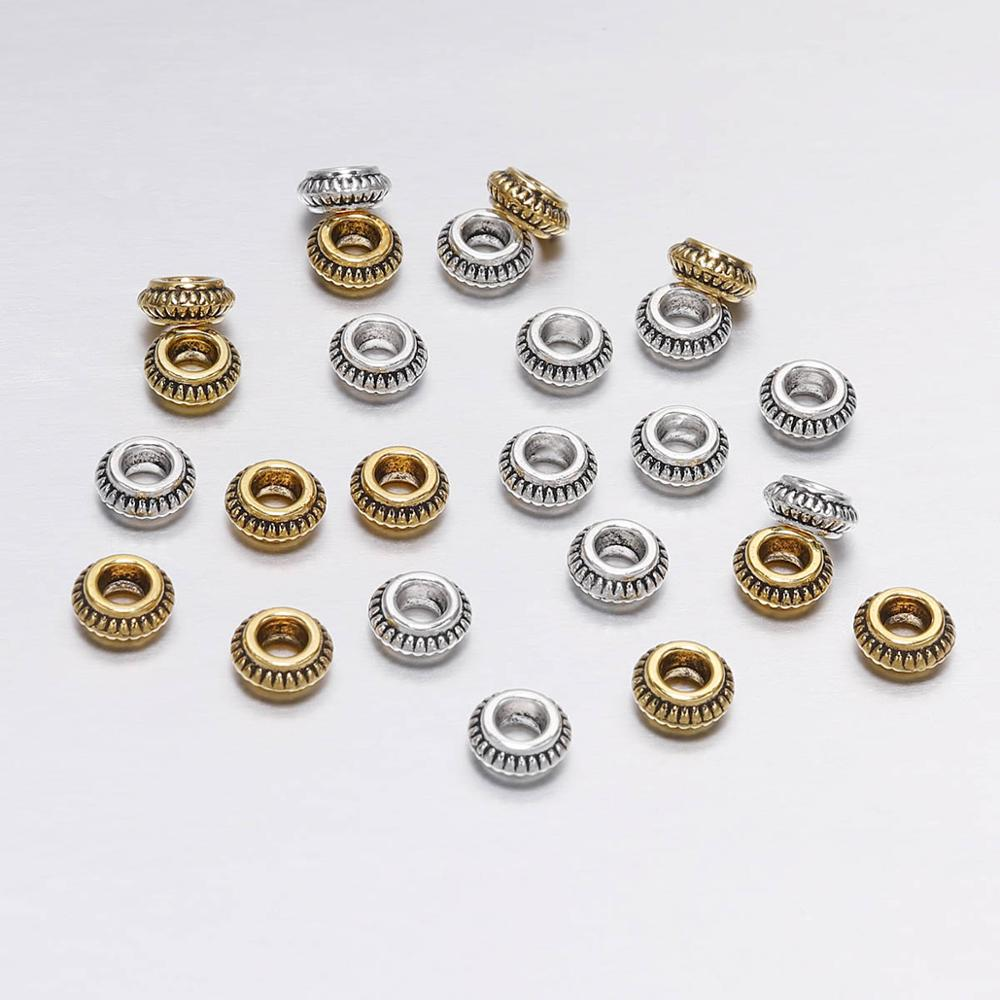 50pcs/lot 7mm Antique Silver Gold Circular Flat Loose Spacer Beads For Jewelry Making DIY Handmade Bracelet Findings Accessories