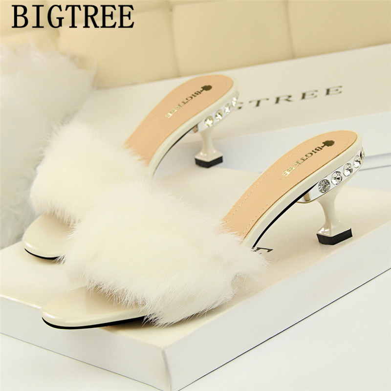 Fur Slippers Mules Shoes Women High Heels Slippers 2019 Shoes Rhinestone Slippers Fetish High Heels Tacones Altos Mujer Sexy