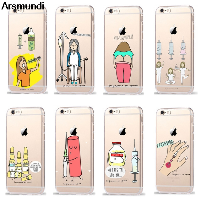 Qualified Arsmundi Cartoon Medicine Nurse Doctor Dentist Phone Cases For Iphone 4 5s 6s 7 8 Plus X Case Crystal Clear Soft Tpu Cover Cases Cellphones & Telecommunications