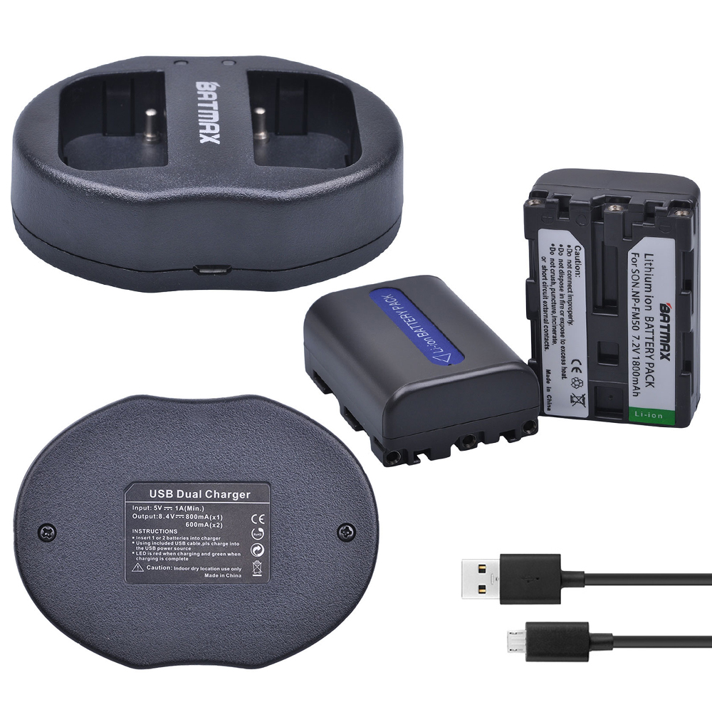 2Pcs NP-FM50 NP FM50 FM55H Batteries Pack and Dual USB Charger for Sony NP-FM51 NP-FM30 NP-FM55H DCR-PC101 A100 Series DSLR-A100