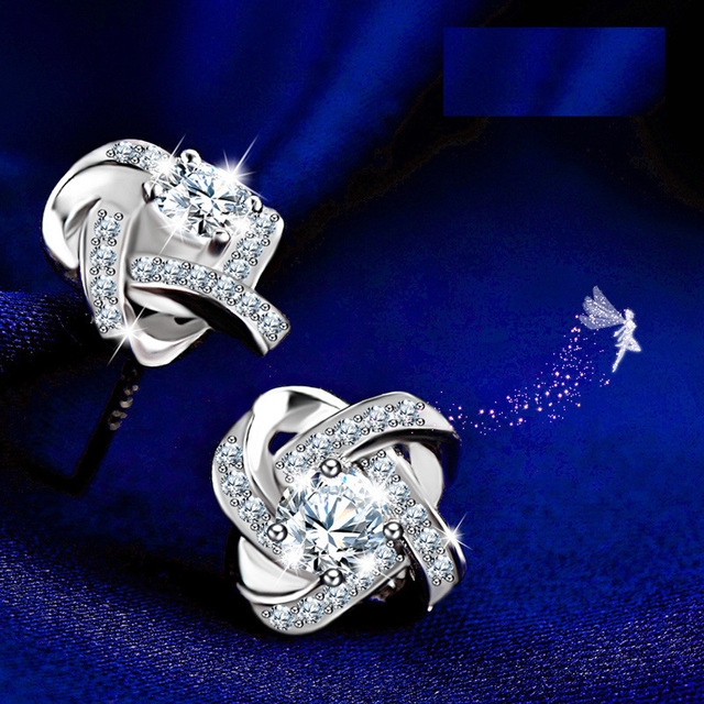 New 925 Silver Crystal Stud Earrings For Women Girls Kids Fashion Luxury Cubic Zirconia Paved Wedding Engagement Earring Jewelry