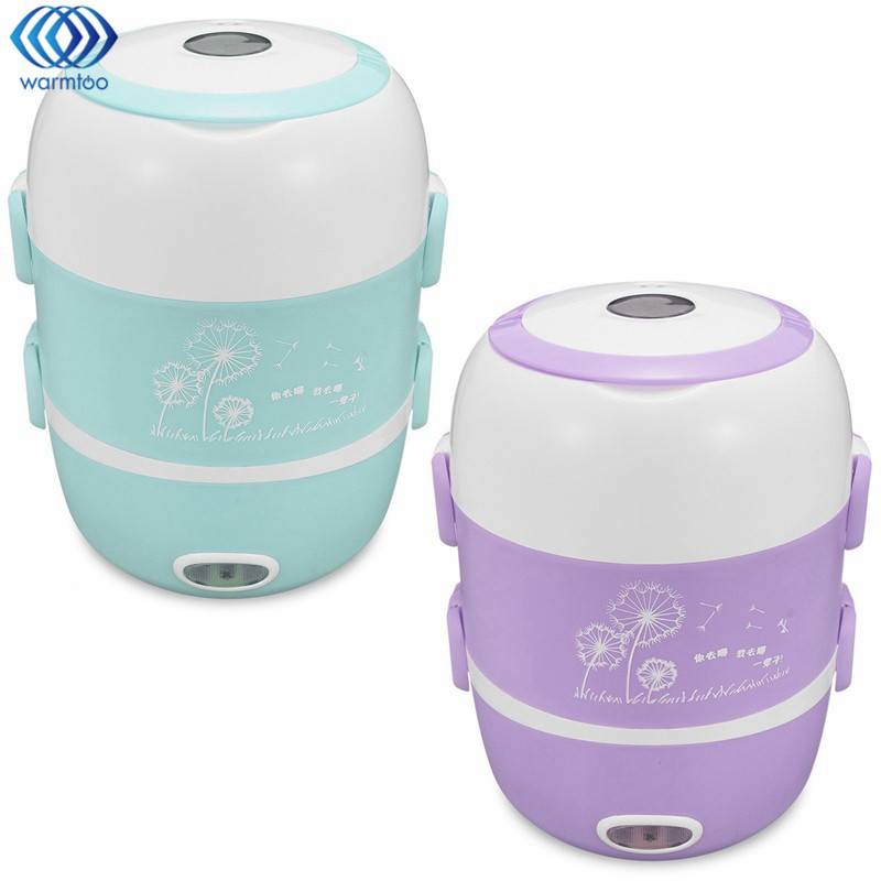 220V Mini Electric Lunch Box 1.7L 2 Layer Portable Rice Cooker Steamer Stainless Steel Heating Device Kitchen Picnic Containe indutrial rice cooker parts rice cooking machine u shape stainless steel heating tube 380 voltage 4kw