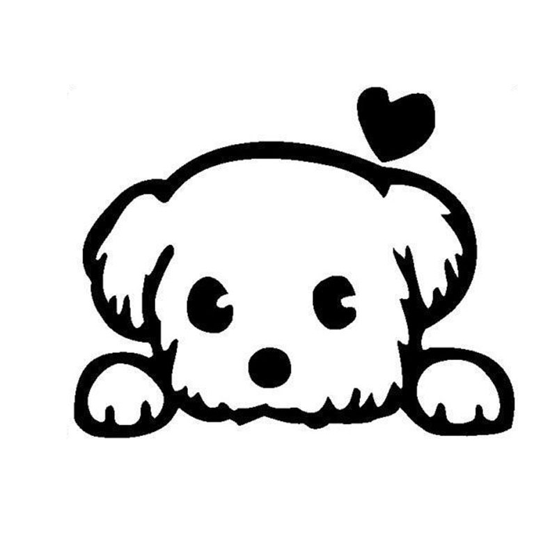 13*10.4CM Baby Pet Cute Dog Cartoon Window Decals Funny Animal Car Sticker Accessories Black/Silver C6-1340