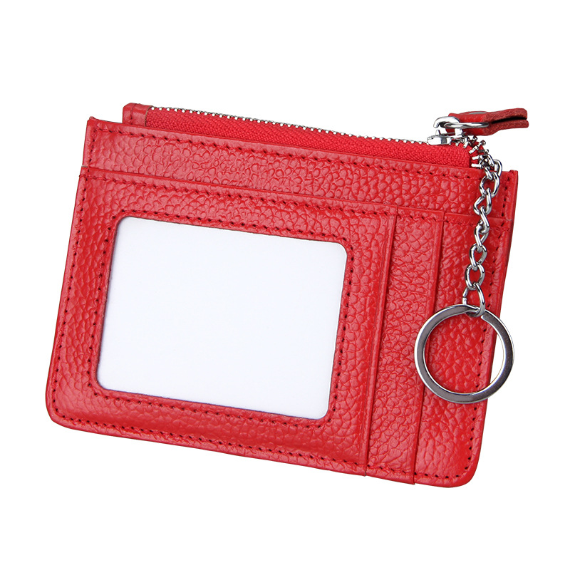 Fashion Genuine Leather Card Wallet Real Cow Leather Anti RFID Unisex Credit ID Card Holders with Zipper Coin Purse