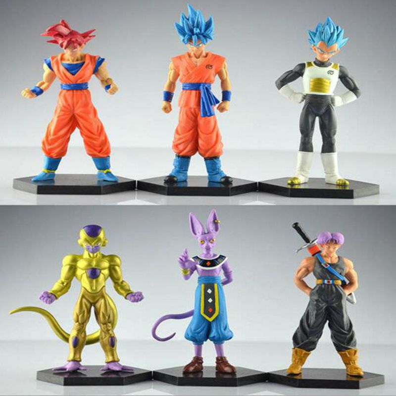 6pcs anime 12-14CM Dragon Ball Z Resurrection F Freeza Super Saiyan Goku Vegeta Trunks PVC Action Figure Collectible kids toys