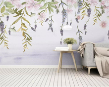 Beibehang Modern High quality wallpaper Nordic minimalism small fresh green leaf flower watercolor style background 3d