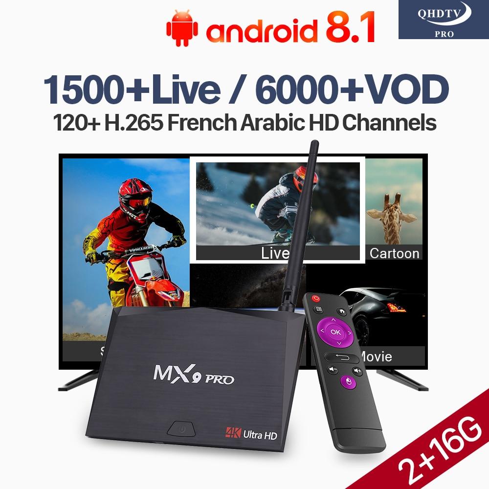 QHDTV Pro Arabic Franc IPTV Android 8.1 Box MX9 Pro Support BT Dual-Band WiFi 2G 16G Morocco Qatar Italia Arabic French IPTV Box все цены