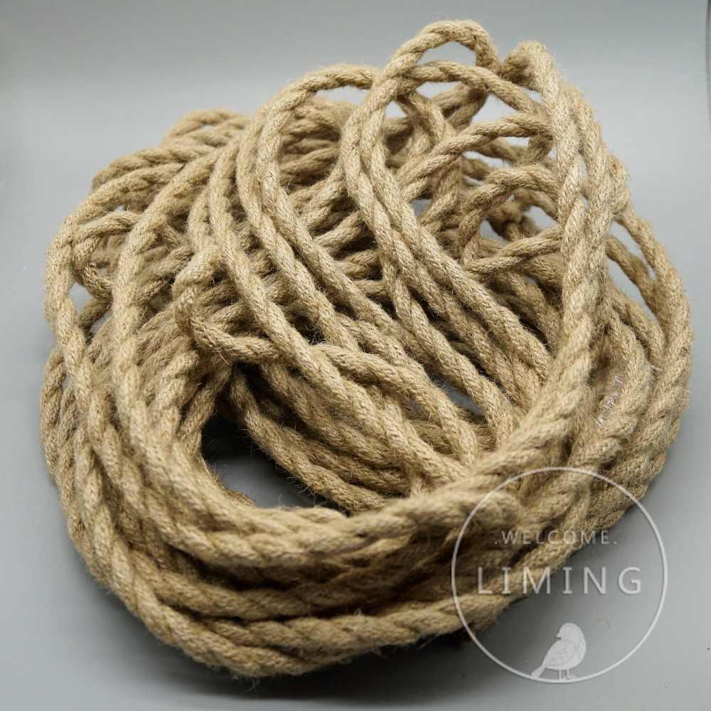 2x0,75 скрученная веревка кабель Ретро плетеная электрическая ткань DIY подвесной провод винтажный шнур для лампы медь для подвесных огней
