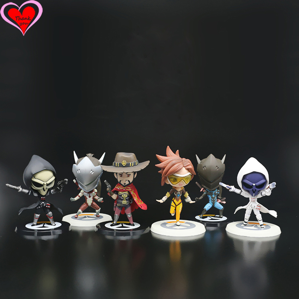 Love Thank You  OW Over game watch Overwatches Tracer Reaper Mccree Mei Genji cute figure toy Collectibles Model gift doll new patterns game genji ow metal weapons zinc alloy exquisite darts rotatable ninjia professional cosplay props kids gift in box