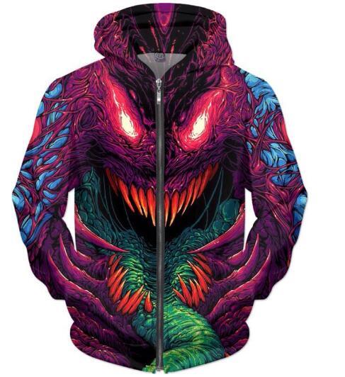 Neu Kommen Modekleidung Crewneck Hyper beast Zip-Up Hoodies Psychedelic Sweatshirt Casual Frauen/Männer 3D Harajuku Outfits Tops