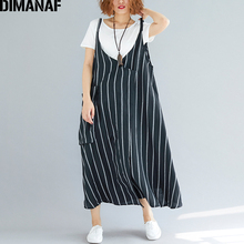 DIMANAF נשים שמלת קיץ בתוספת גודל Femme שמלה קיצית ללא שרוולים פשתן פסים שחור ליידי אלגנטי Vestido ארוך שמלת דק בגדים