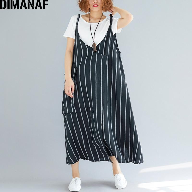 DIMANAF Women Dress Summer Plus Size Femme Sundress Sleeveless Linen Striped Black Lady Elegant Vestido Long Dress Thin Clothing