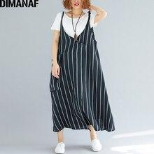 DIMANAF kobiety sukienka lato Plus rozmiar Femme Sundress bez rękawów pościel w paski czarny Lady eleganckie Vestido długa sukienka cienkie ubrania