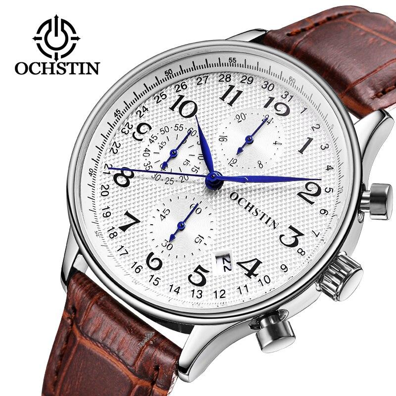 OCHSTIN Men Chronograph Watch Men Sport Watch Leather Strap Quartz-Watch Waterproof Date Men's Wrist Watch relogio masculino