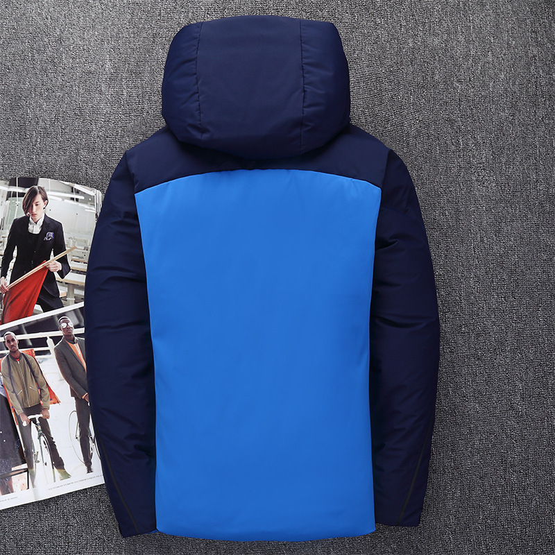 6a5fdb510548 Section Nouveaux Manteaux Hommes Capuchon Veste Blanc Bleu Chaude YTRUH0cqT