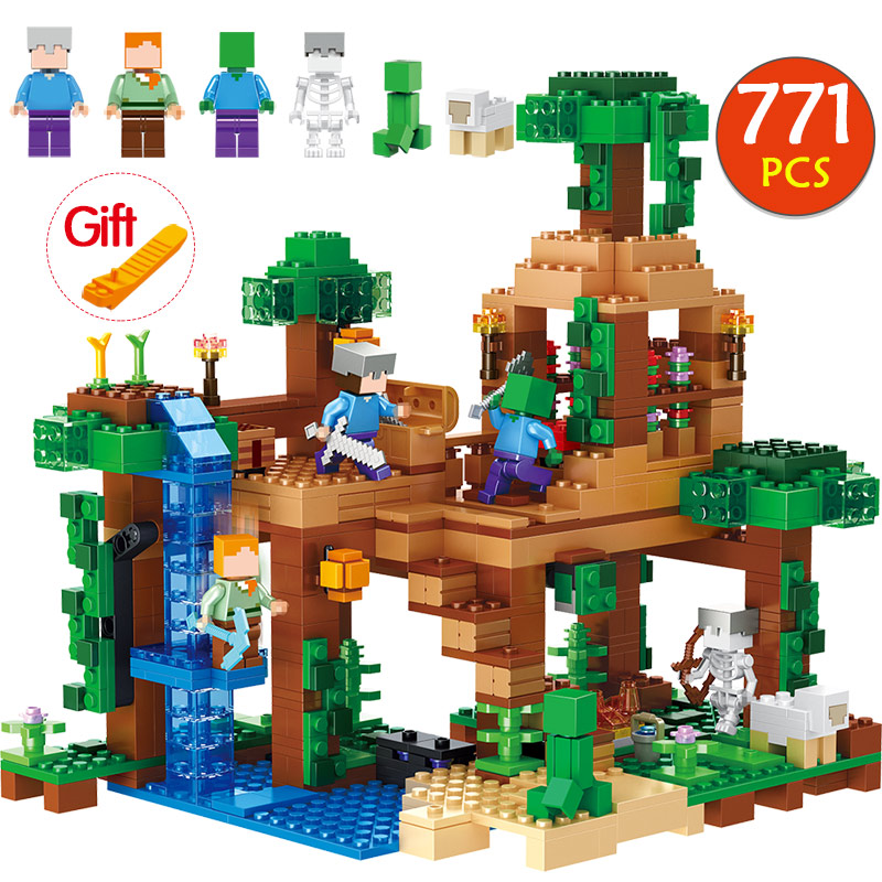 771pcs Minecrafted The Jungle Tree House Compatible Legoingly Minecrafted 21125 Building Blocks kids Toys For Children birthday 771pcs 8 in1 minecrafted manor estate house compatible legoingly my world model building blocks bricks toy for children