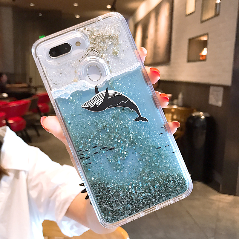 Missbuy Whale Phone Case for OPPO A83 A59 F1S R9 R9S R11 R11S Plus A57 F5  F7 F9 A3 R17 Pro Fundas Liquid Glitter Quicksand Cover
