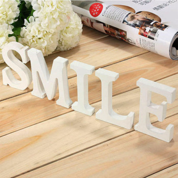 Home Decor Decoration thick Wood Wooden White Letters Alphabet Wedding Birthday 8cmX1.2cm Drop Shipping 1