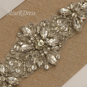 Image 3 - MissRDress Silver Diamond Wedding Belt Handmade Rhinestones Bridal Sash Crystal Pearls Bridal Belt For Wedding Gown JK935