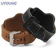 20mm 22mm 24mm 26mm Quality Cuff Bracelet Strap Leather Watchband Black/Brown Decorative Style Belt For Mens
