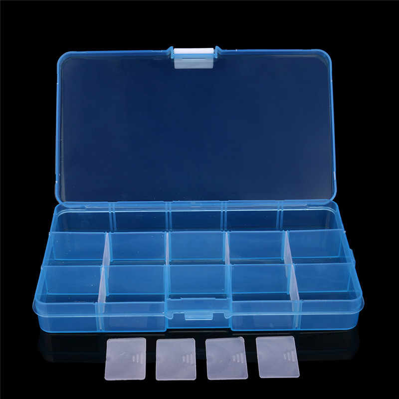 ISHOWTIENDA 15 Grids Storage Case Box Holder Container Pills Jewelry Nail Adjustable Plastic Rings Jewelry Display Organizer