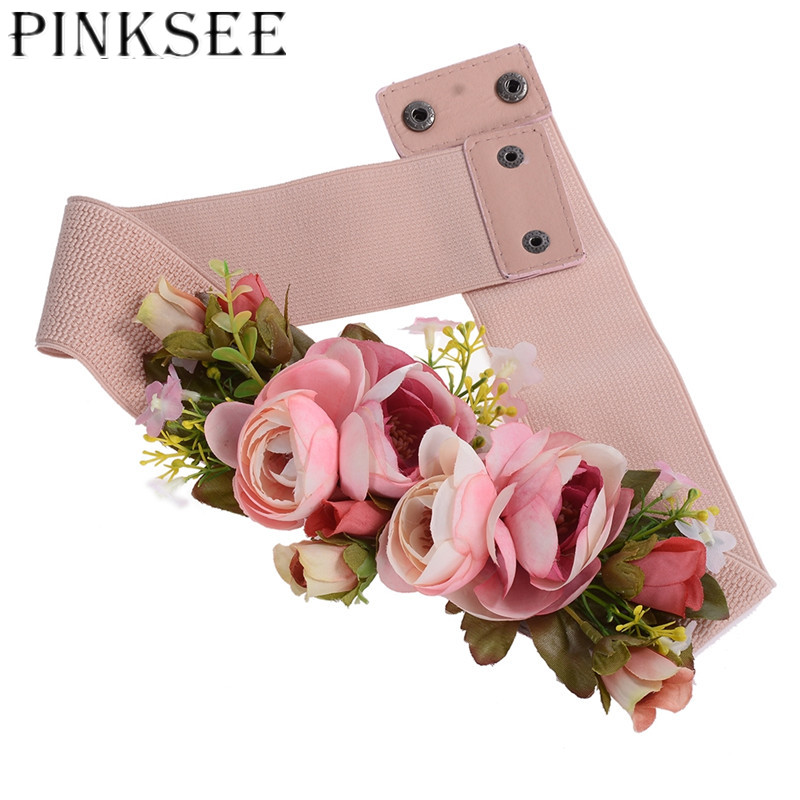 PINKSEE Charm Rose Flower Synthetic Fabric Elastic Stretch Dress Narrow Waist   Belt   Band for Women Cloth Accessories