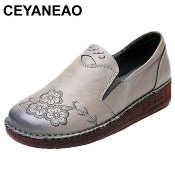 CEYANEAO Casual shoes made of genuine leather on a flat sole; driving without flower print closure; women's moccasins - discount item  48% OFF Women's Shoes