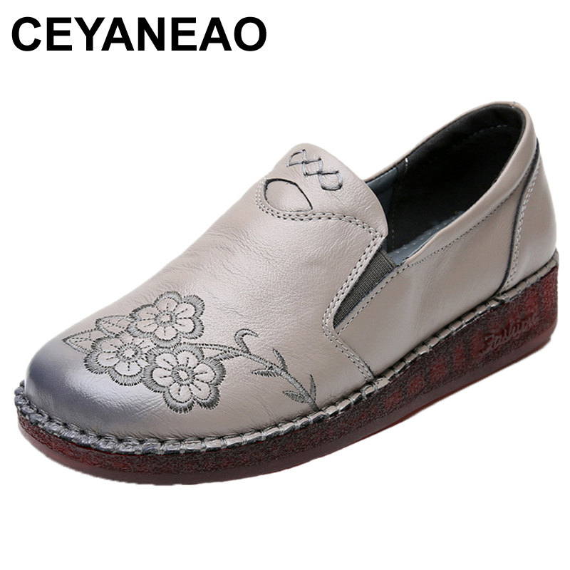 CEYANEAO/Повседневная обувь из натуральной кожи на плоской подошве; обувь для вождения без застежки с цветочным принтом; женские мокасины|Обувь без каблука|   | АлиЭкспресс