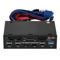 Panas Multifungsi 5.25 Inci Media Dashboard Card Reader USB 2.0 USB 3.0 20 Pin E-SATA SATA Panel Depan