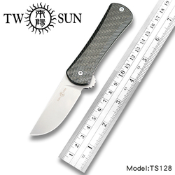 TwoSun S90V blade folding Pocket Knife Camping tactical hunting knife survival tool Titanium Carbon Fiber Fast Open Dynamo TS128
