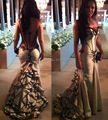 trapless sexy back see-through mermaid celebrity dresses 2017 evening party dress  custom make free shipping