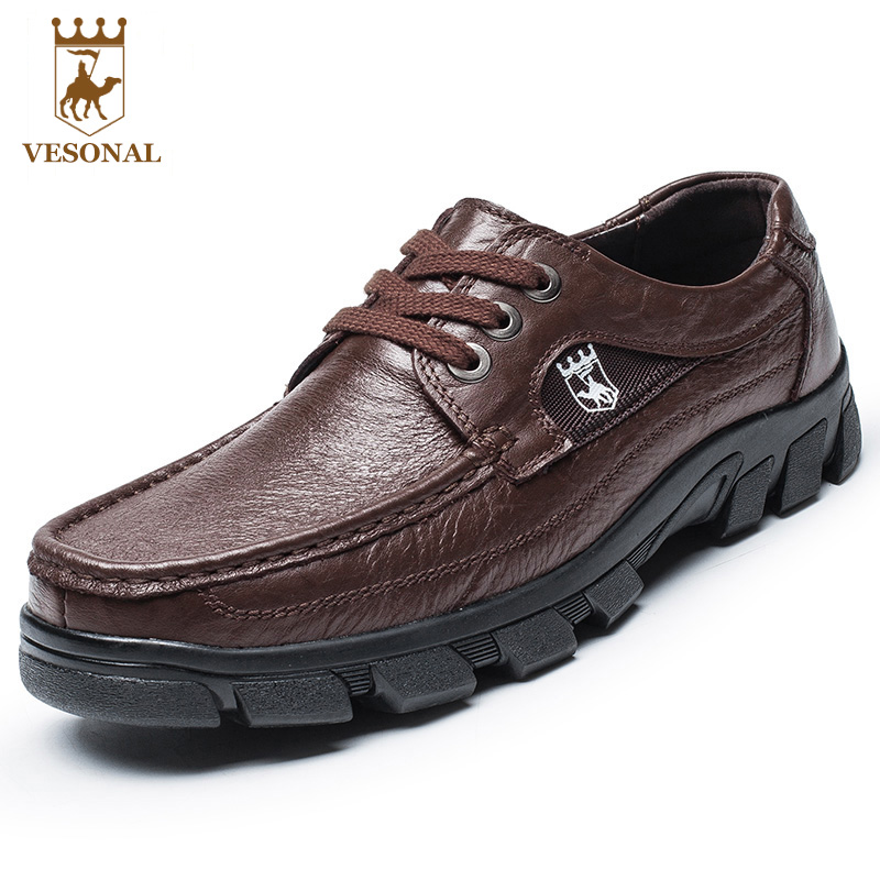 VESONAL Business Brand For Men Shoes Casual Male Walking Quality Autumn Winter Genuine Leather Comfortable Footwear Man Shoes vesonal winter fur male shoes for men loafers adult business casual brand high quality genuine leather footwear man walking