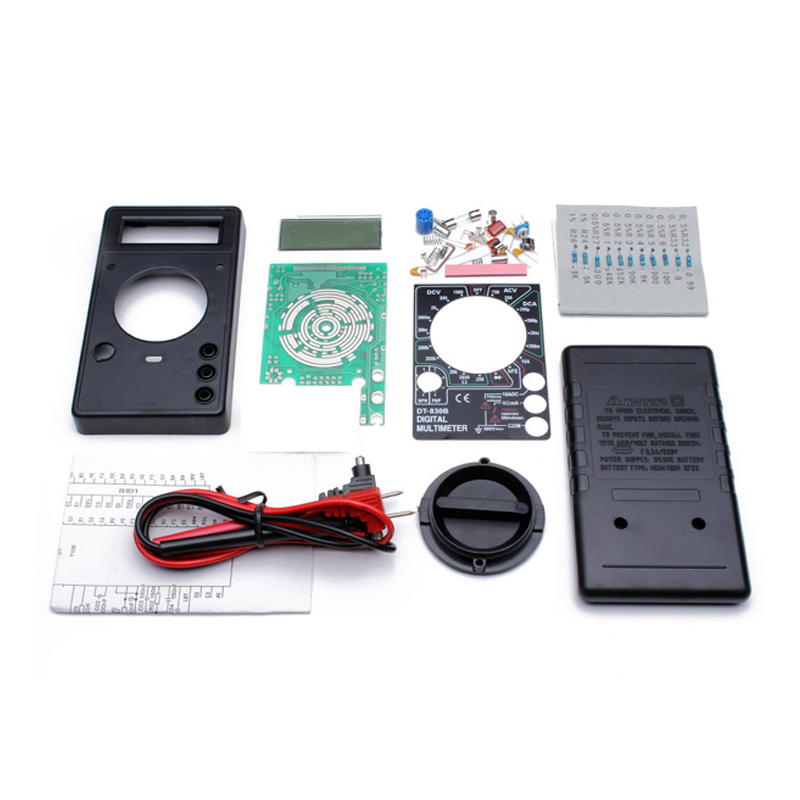 DIY DT830B Digital Multimeters Kit Electronic Learning Kit 1set diy 7 tube am radio kit 525 1605khz 100mw electronic diy kit learning set