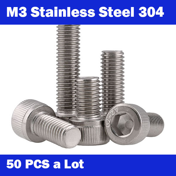 <font><b>M3</b></font> Free shipping 50Pcs <font><b>M3</b></font>*3-<font><b>40mm</b></font> DIN912 304 Stainless Steel Hexagon Socket Head Cap Screws Hex Socket Screw Metric Bike Screw image