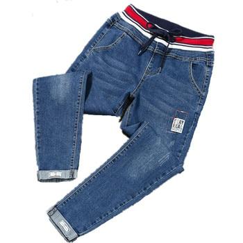 Large Plus Size 4XL 5XL Spring Stretch Jeans Women High Street Lace Up Harem Jeans Pants Elastic Wasit Patch Cuffs Denim Pants 1