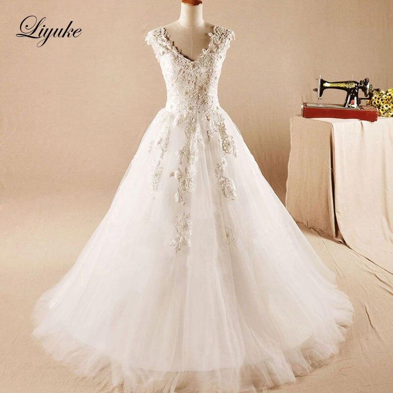 Liyuke glamorous v-cuello a-line vestido de novia Appliques Encaje ...