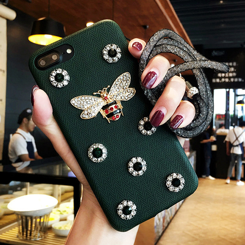 LOVECOM DIY Phone Case For iPhone 6 6s 7 7 Plus Luxury Diamond Crystal DIY Bee Soft Leather Phone Back Cover Cases With Lanyard