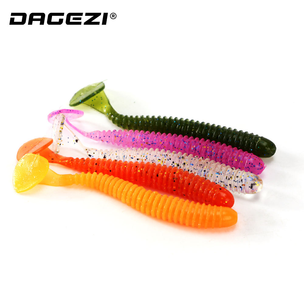 DAGEZI 10pcs/lot T tail soft fishing lure 7.5CM/2G Soft bait  Swimbaits Jig Head Artificial Lure for Fly Fishing Bait fishing soft lure screw t tails 75mm 2g long tail fish bait lot 3 pieces