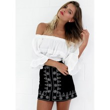 Summer new popular Italian fashion personality symmetrical embroidery leather style ethnic sexy bag hip half body skirt