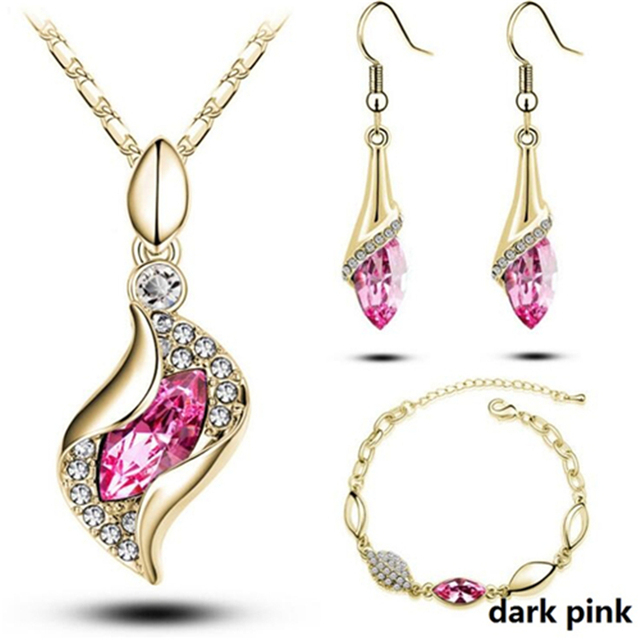 African Beads Gold Silver Color Jewelry Sets For Women Accessories Wedding Bridal Pendant Crystal Necklace Earrings Ring Set