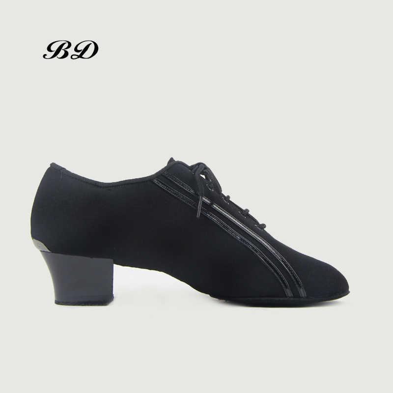 Sneake أحذية الرقص اللاتينية أحذية قاعة الرقص حذاء رجالي الجاز الحديثة الانزلاق متابعة الأسود أكسفورد القماش كعب مربع 4.5 سنتيمتر الكبار و الصبي الأحذية