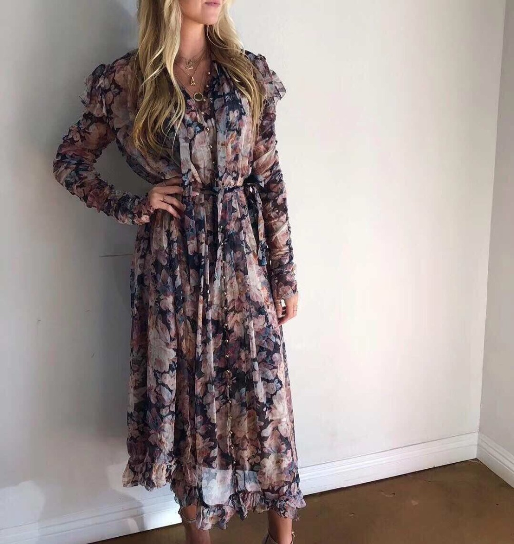 2018 new arrive floral print women dress full sleeve chiffon midi dress